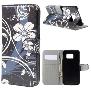 Leatherette Cover Case Stand for Samsung Galaxy S6 edge G925 - Butterfly Flower
