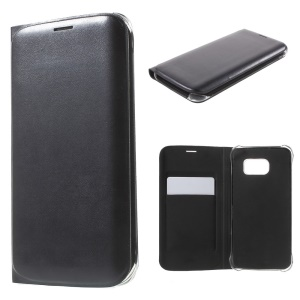Leather Card Holder Case for Samsung Galaxy S6 Edge G925 - Black