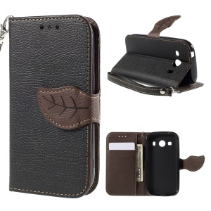 Leaf Magnetic Leather Wallet Case for Samsung Galaxy Ace 4 SM-G357FZ / Ace Style LTE G357 - Black