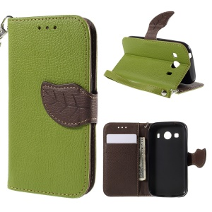 Leaf Pattern Magnetic Leather Wallet Shell for Samsung Galaxy Ace 4 SM-G357FZ / Ace Style LTE G357 - Green