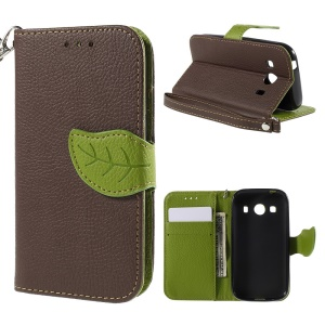 Leaf Pattern Magnetic Leather Wallet Shell for Samsung Galaxy Ace 4 SM-G357FZ / Ace Style LTE G357 - Coffee