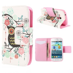 Magnetic Leatherette Wallet Case for Samsung Galaxy S Duos S7562 S7582 S7560 - Owl on Branch