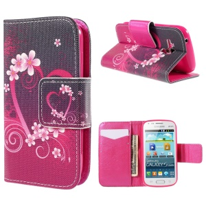 Flip Leather Wallet Stand Cover for Samsung Galaxy S Duos S7562 S7582 S7560 - Heart and Flowers