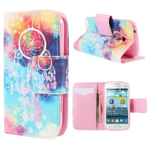 Leatherette Wallet Stand Case for Samsung Galaxy S Duos S7562 S7582 S7560 - Feather Dreamcatcher