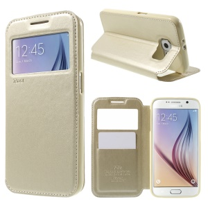 ROAR CORÉIA Noble Window View Leather Cover para Samsung Galaxy S6 G920 - champanhe