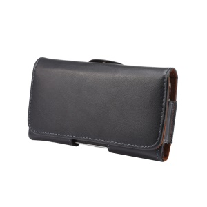 Genuine Leather Holster Pouch Case for iPhone X 5.8 inch / Samsung Galaxy S9 S8 Etc, Size: 14.5 x 7.5 x 1.6cm - Black