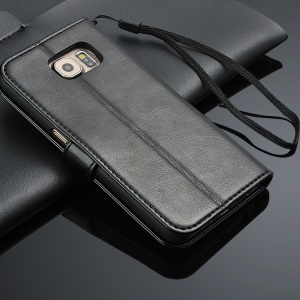 Crazy Horse Skin Leather Case Card Holder for Samsung Galaxy S6 Edge G925 with Lanyard - Black