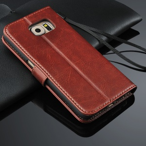 Crazy Horse Flip Leather Wallet Stand Case for Galaxy S6 Edge G925 with Lanyard - Brown