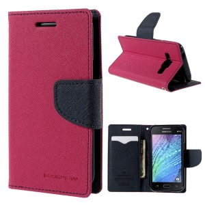 MERCURY Goospery Magnetic Leather Stand Cover for Samsung Galaxy J1 / J1 4G - Rose