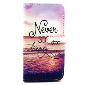 Wallet Leather Stand Case for Samsung Galaxy Alpha SM-G850F SM-G850A - Never Stop Dreaming
