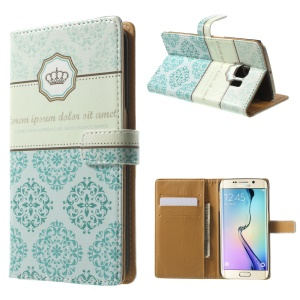 Blue Damask for Samsung Galaxy S6 Edge G925 Leather Wallet Flip Case