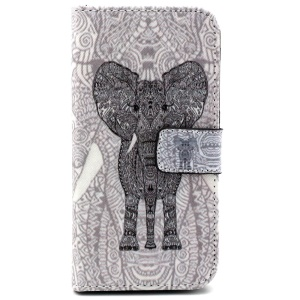 For Samsung Galaxy S6 edge G925 Leather Case with Money Card Slots - Zentangle Elephant
