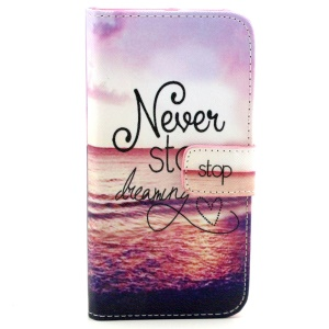 For Samsung Galaxy S6 edge G925 PU Leather Phone Cover - Quote Never Stop Dreaming
