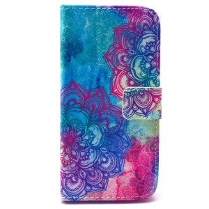 Colorful Flowers Leather Case for Samsung Galaxy S5 mini G800 with Card Slots