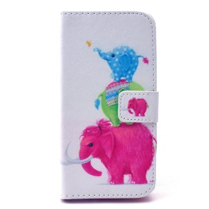Three Colorized Elephants Magnetic Leather Stand Case for Samsung Galaxy S5 mini G800