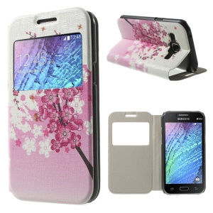 Plum Blossom View Window Faux Leather Case for Samsung Galaxy J1 / J1 4G