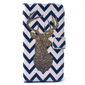 Gold Glitter Chevron Pattern Wallet Leather Cover Shell for Samsung Galaxy S5 G900 / S5 Neo