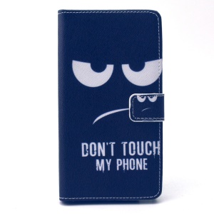 Leather Wallet Protective Mobile Cover for Galaxy Note 4 N910 - Don't Touch My Phone