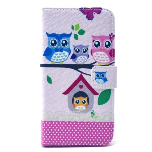 Three Owls on the Branch Leather Cover for Samsung Galaxy S6 Edge G925 with Card Slots