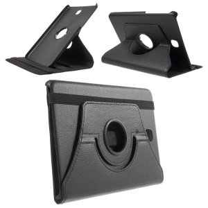 Lychee Grain Leather Case for Samsung Galaxy Tab A 8.0 T350 with 360 Degree Rotary Stand - Black
