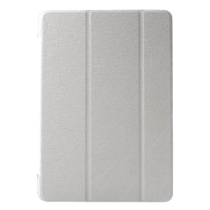 Silk Texture Leather Case for Samsung Galaxy Tab A 9.7 T550 T555 with Tri-fold Stand - White