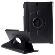Lychee Grain Leather Rotary Stand Shell for Samsung Galaxy Tab A 9.7 T550 T555 - Black