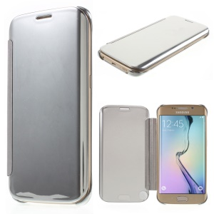 Invisible View Plating PC Smart Leather Case for Samsung Galaxy S6 edge G925 - Silver