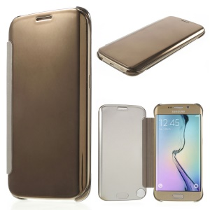 Invisible View Plating PC Smart Leather Cover for Samsung Galaxy S6 edge G925 - Gold