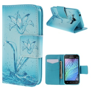 Wallet Leather Cover for Samsung Galaxy J1 / J1 4G with Stand - Water Flower