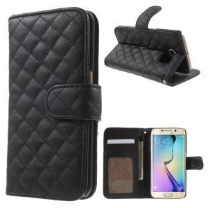 Check Pattern Leather Wallet Case for Samsung Galaxy S6 Edge G925 - Black