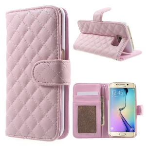 Check Grain Leather Card Slot Shell for Samsung Galaxy S6 Edge G925 - Pink