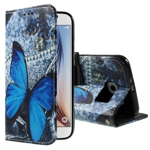 Color Painting Leather Wallet Case for Samsung Galaxy S6 G920 - Blue Butterfly & Jeans