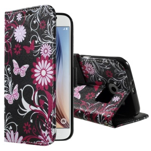 Color Pattern Leather Protective Cover for Samsung Galaxy S6 G920 - Butterflies and Flowers