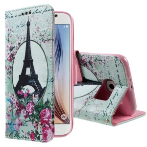 Color Pattern Leather Wallet Stand Case for Samsung Galaxy S6 G920 - Eiffel Tower & Flowers