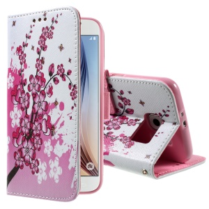 Color Pattern Leather Protective Cover for Samsung Galaxy S6 G920 - Plum Blossoms