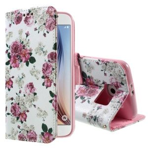 Color Pattern Leather Wallet Stand Case for Samsung Galaxy S6 G920 - Elegant Bloomy Peonies