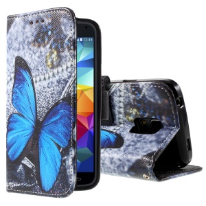 For Samsung Galaxy S5 mini G800 Leather Wallet Cover - Graphic Blue Butterfly