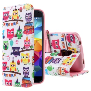 For Samsung Galaxy S5 mini G800 PU Leather Magnetic Cover - Multiple Cute Owls