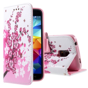 For Samsung Galaxy S5 mini G800 Flip Leatherette Cover - Plum Blossom