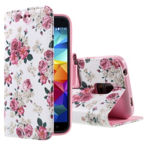 For Samsung Galaxy S5 mini G800 Flip Leatherette Case - Elegant Rose Flowers