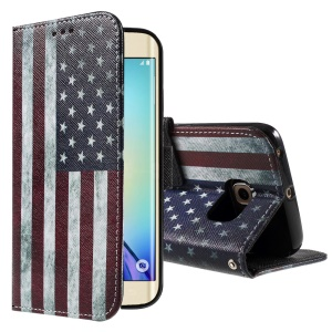 Color Painting Leather Protective Case for Samsung Galaxy S6 edge G925 - Vintage US Flag