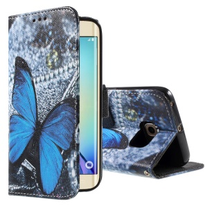 Color Painting Leather Wallet Case for Samsung Galaxy S6 edge G925 - Blue Butterfly & Jeans