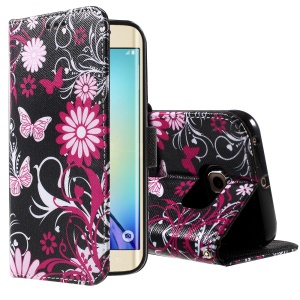 Color Pattern Leather Phone Cover for Samsung Galaxy S6 edge G925 - Butterflies and Flowers