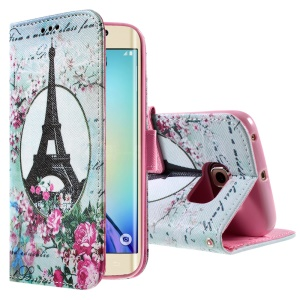 Color Pattern Leather Wallet Stand Case for Samsung Galaxy S6 edge G925 - Eiffel Tower & Flowers