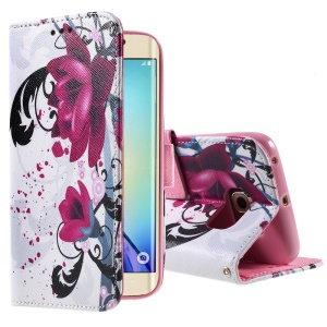 Color Painting Leather Wallet Case for Samsung Galaxy S6 edge G925 - Purple Flowers