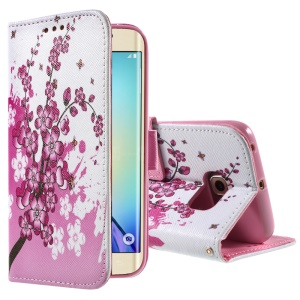 Color Painting Leather Protective Case for Samsung Galaxy S6 edge G925 - Plum Blossoms