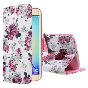 Color Pattern Leather Wallet Stand Case for Samsung Galaxy S6 edge G925 - Elegant Bloomy Peonies