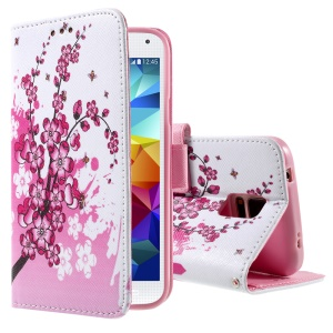 Color Painting Flip Wallet Leather Shell for Samsung Galaxy S5 G900 / S5 Neo - Pink Plum Blossom