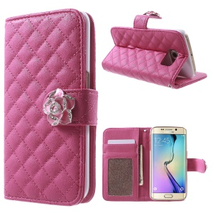 Grid Pattern Leather Wallet Case for Samsung Galaxy S6 Edge G925 - Rose