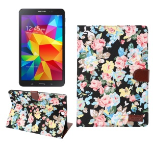 For Samsung Galaxy Tab A 9.7 T550 Smart Leather Case Card Holder Flowers Cloth Skin - Black Background